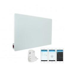 КОМПЛЕКТ Инфрачервен отоплителен панел Sun Way SWG 450, Стъклен, Бял + Смарт Wi-Fi Контакт Broadlink Contros SP3S