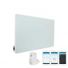 КОМПЛЕКТ Инфрачервен отоплителен панел Sun Way SWG 450 (450W), Стъклен, Бял + Смарт Wi-Fi Контакт Broadlink Contros SP3S