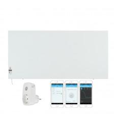 КОМПЛЕКТ Инфрачервен отоплителен панел Sun Way SWRE 1000 (1000W), с програмируем електронен термостат, Метален + Смарт Wi-Fi Контакт Broadlink Contros SP3S
